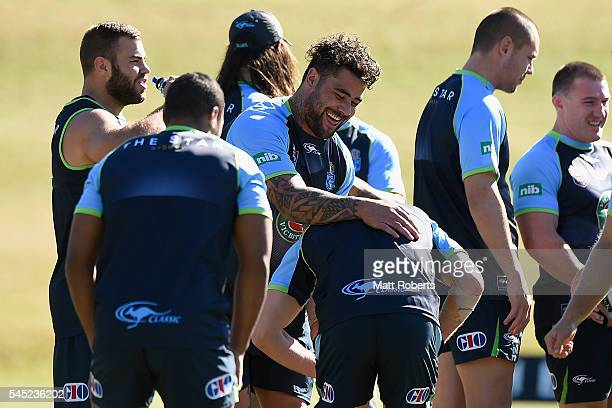 Andrew Fifita of the Blues shares a laugh with team mates during the New South Wales State of Origin training session on July 7 2016 in Coffs Harbour...