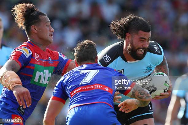 Andrew Fifita of the Cronulla Sharks is tackled during the NRL Trial match between the Cronulla Sharks and the Newcastle Knights on March 02 2019 in...