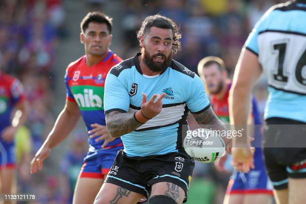 Andrew Fifita of the Cronulla Sharks looks to pass the ball during the NRL Trial match between the Cronulla Sharks and the Newcastle Knights on March...