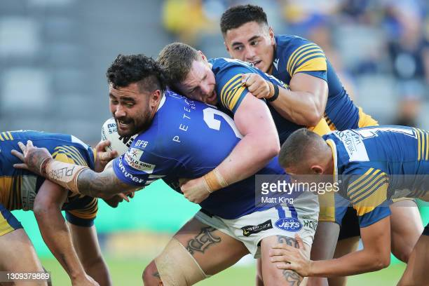 Andrew Fifita of the Jets is tackled during the round three NSW Cup match between the Parramatta Eels and the Newcastle Jets at Bankwest Stadium on...