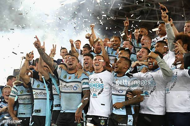 Andrew Fifita of the Sharks and team mates celebrate after winning the 2016 NRL Grand Final match between the Cronulla Sharks and the Melbourne Storm...