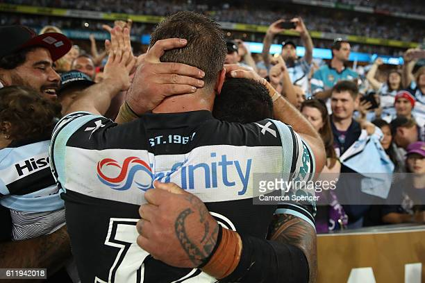 Andrew Fifita of the Sharks and Wade Graham of the Sharks celebrate winning the 2016 NRL Grand Final match between the Cronulla Sharks and the...
