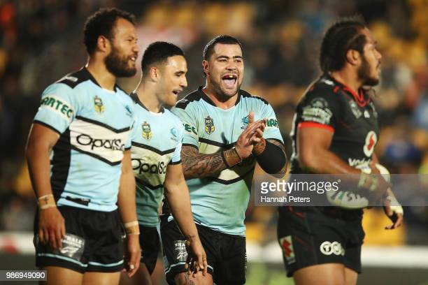Andrew Fifita of the Sharks celebrates after winning the round 16 NRL match between the New Zealand Warriors and the Cronulla Sharks at Mt Smart...