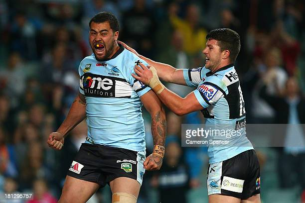 Andrew Fifita of the Sharks celebrates scoring a try during the NRL First Semi Final match between the Manly Sea Eagles and the Cronulla Sharks at...