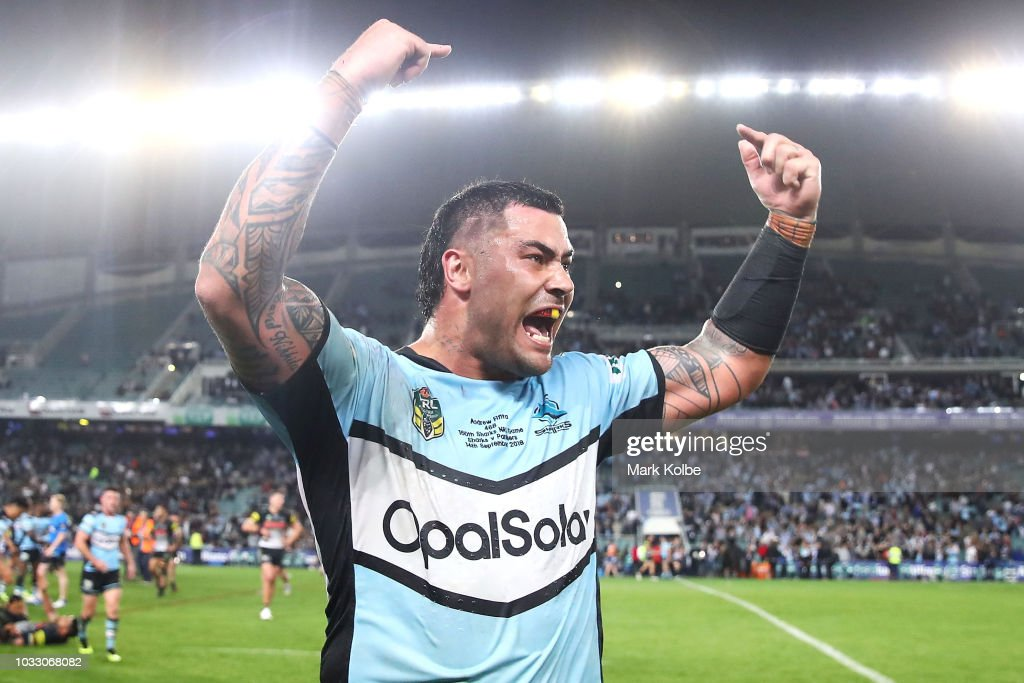 Andrew Fifita of the Sharks celebrates victory during the NRL Semi Final match between the Cronulla Sharks and the Penrith Panthers at Allianz Stadium on September 14, 2018 in Sydney, Australia.