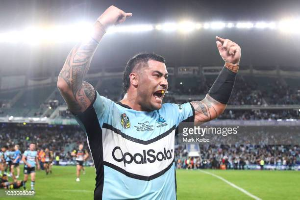 Andrew Fifita of the Sharks celebrates victory during the NRL Semi Final match between the Cronulla Sharks and the Penrith Panthers at Allianz...