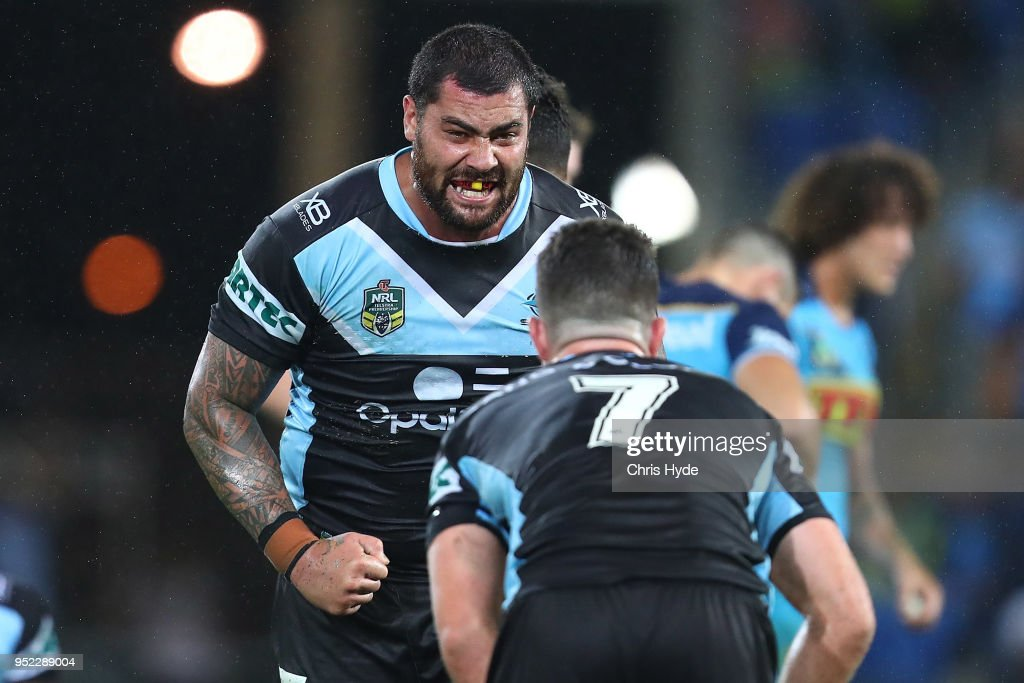 Andrew Fifita of the Sharks celebrates winning the round eight NRL match between the Gold Coast Titans and Cronulla Sharks at Cbus Super Stadium on April 28, 2018 in Gold Coast, Australia.
