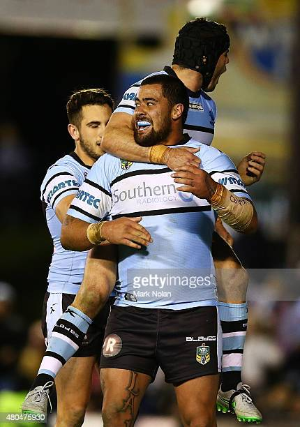 Andrew Fifita of the Sharks celebrtaes after scoring during the round 18 NRL match between the Cronulla Sharks and the St George Illawarra Dragons at...
