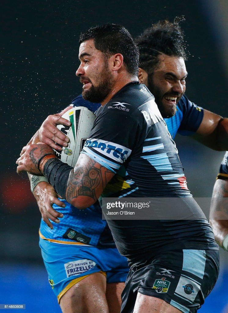 Andrew Fifita of the sharks in action during the round 19 NRL match between the Gold Coast Titans and the Cronulla Sharks at Cbus Super Stadium on July 15, 2017 in Gold Coast, Australia.