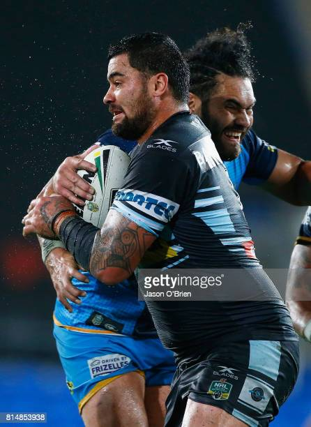 Andrew Fifita of the sharks in action during the round 19 NRL match between the Gold Coast Titans and the Cronulla Sharks at Cbus Super Stadium on...