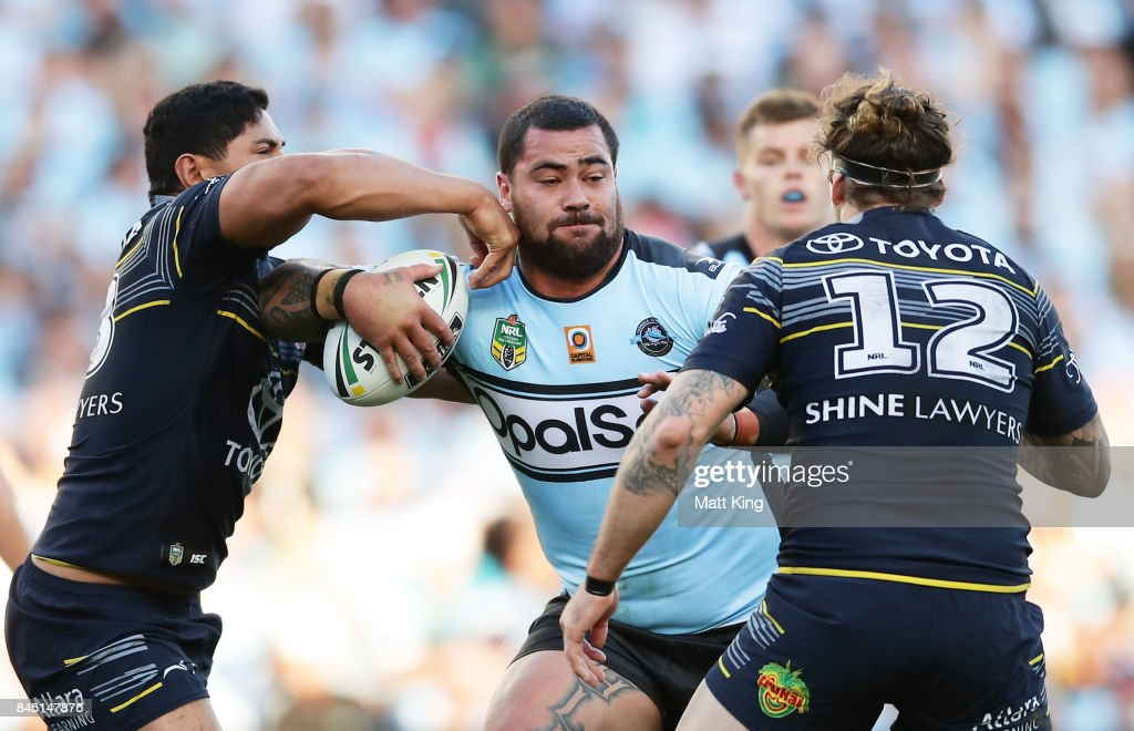 Andrew Fifita of the Sharks is tackled during the NRL Elimination Final match between the Cronulla Sharks and the North Queensland Cowboys at Allianz Stadium on September 10, 2017 in Sydney, Australia.