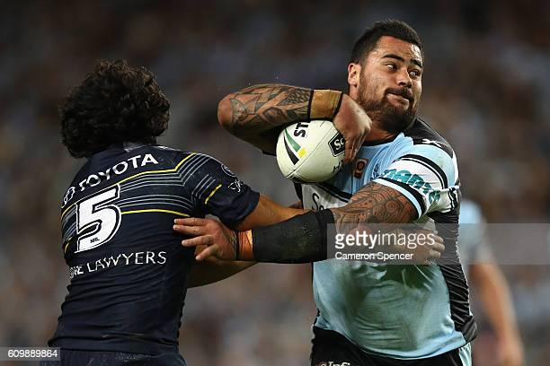 Andrew Fifita of the Sharks is tackled during the NRL Preliminary Final match between the Cronulla Sharks and the North Queensland Cowboys at Allianz...