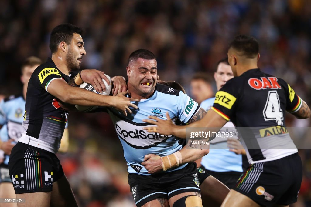 Andrew Fifita of the Sharks is tackled during the round 18 NRL match between the Panthers and the Sharks at Panthers Stadium on July 13, 2018 in Penrith, Australia.