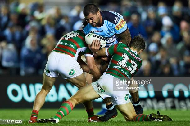 Andrew Fifita of the Sharks is tackled during the round 20 NRL match between the Cronulla Sharks and the South Sydney Rabbitohs at Shark Park on...