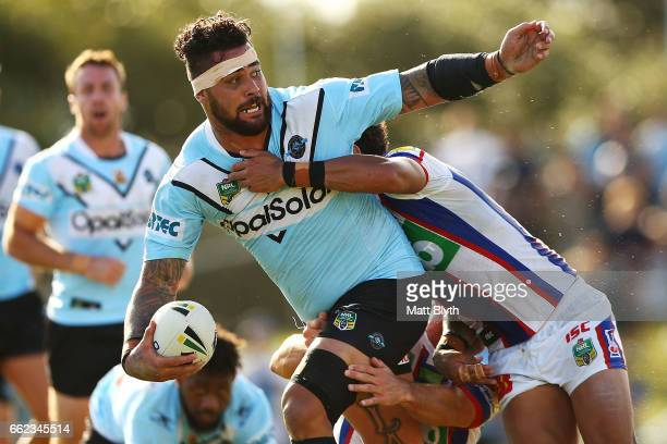 Andrew Fifita of the Sharks is tackled during the round five NRL match between the Cronulla Sharks and the Newcastle Knights at Southern Cross Group...