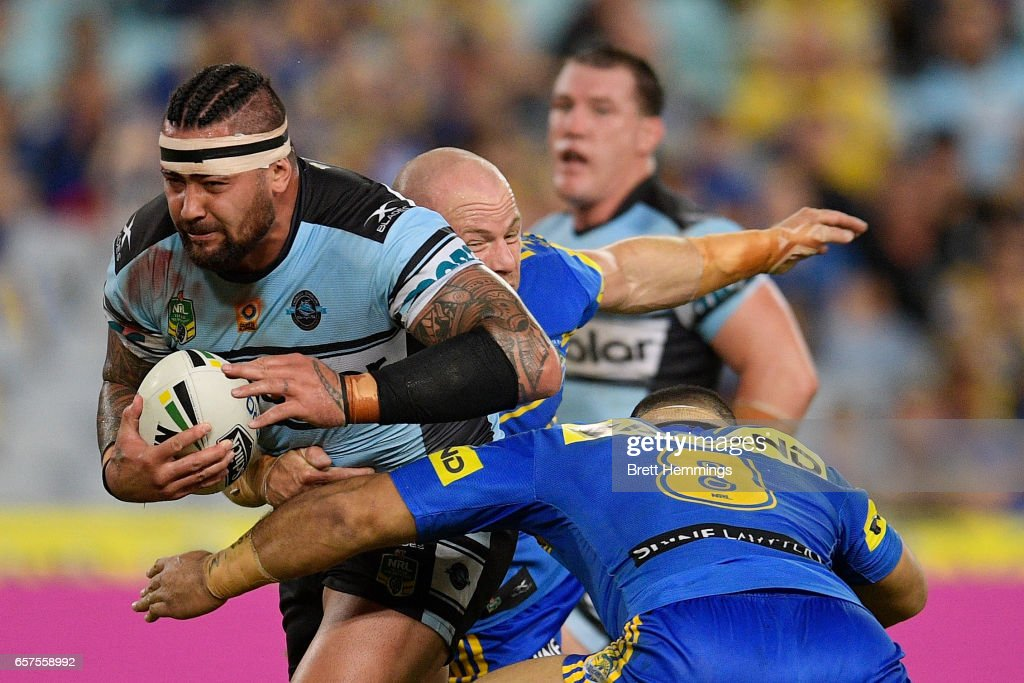 Andrew Fifita of the Sharks is tackled during the round four NRL match between the Parramatta Eels and the Cronulla Sharks at ANZ Stadium on March 25, 2017 in Sydney, Australia.