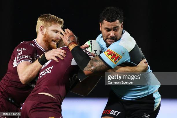 Andrew Fifita of the Sharks is tackled during the round seven NRL match between the Manly Sea Eagles and the Cronulla Sharks at Central Coast Stadium...