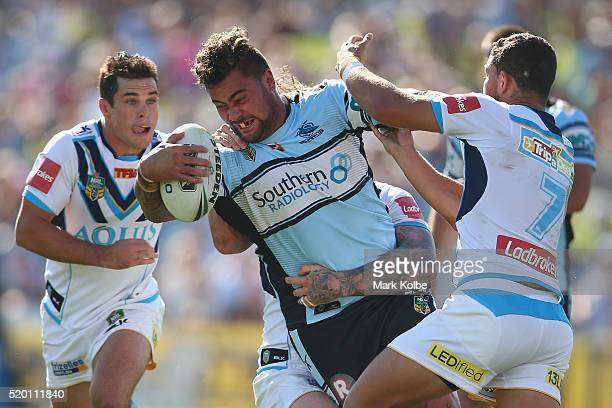 Andrew Fifita of the Sharks is tackled during the round six NRL match between the Cronulla Sharks and the Gold Coast Titans at Southern Cross Group...