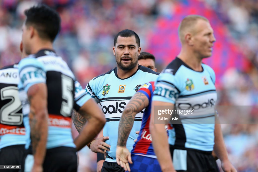 Andrew Fifita of the Sharks looks on during the round 26 NRL match between the Newcastle Knights and the Cronulla Sharks at McDonald Jones Stadium on September 3, 2017 in Newcastle, Australia.