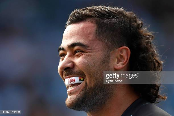 Andrew Fifita of the Sharks looks on during the round two NRL match between the Cronulla Sharks and the Gold Coast Titans at Shark Park on March 23,...