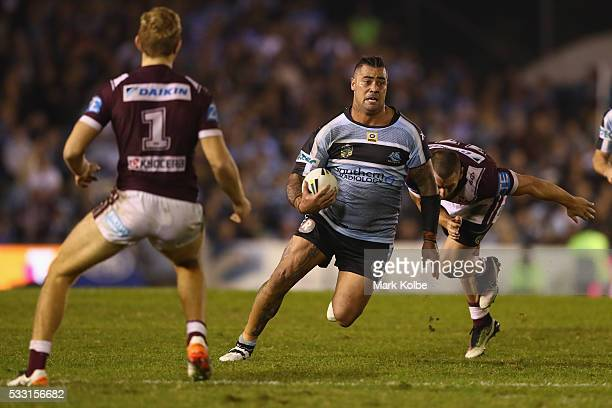 Andrew Fifita of the Sharks makes a break during the round 11 NRL match between the Cronulla Sharks and the Manly Sea Eagles at Southern Cross Group...