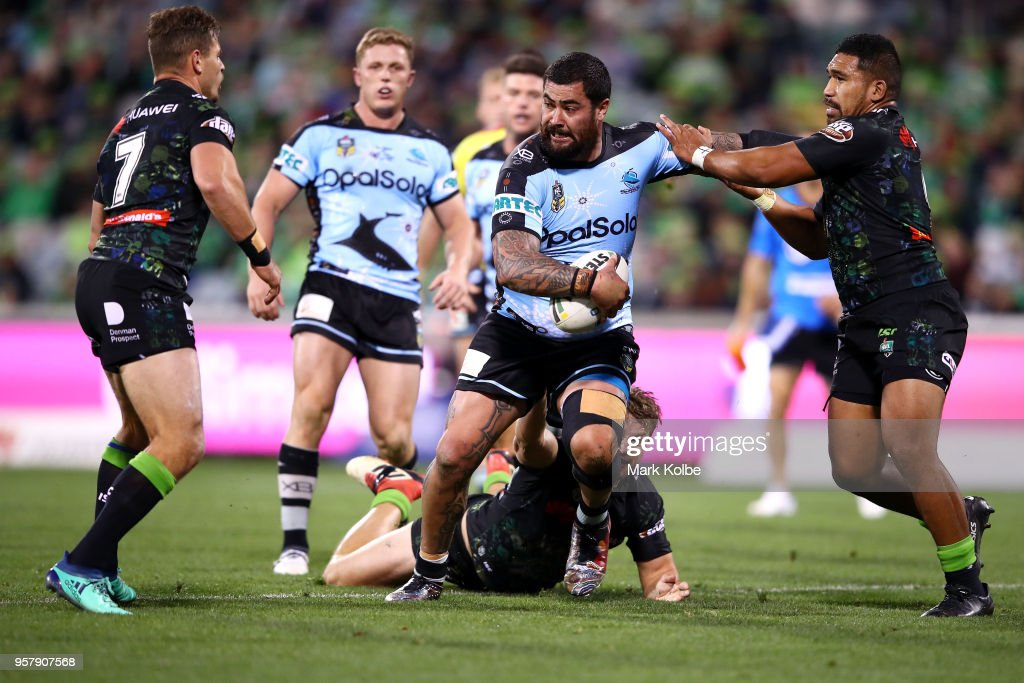 Andrew Fifita of the Sharks runs the ball during the round 10 NRL match between the Canberra Raiders and the Cronulla Sharks at GIO Stadium on May 13, 2018 in Canberra, Australia.