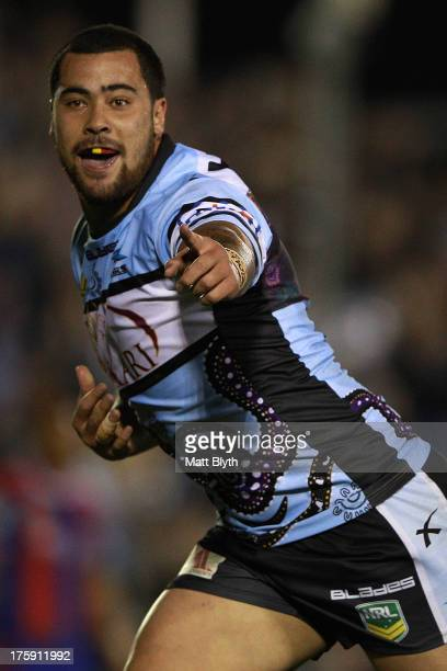 Andrew Fifita of the Sharks scores a try during the round 22 NRL match between the Cronulla Sharks and the Newcastle Knights at Remondis Stadium on...