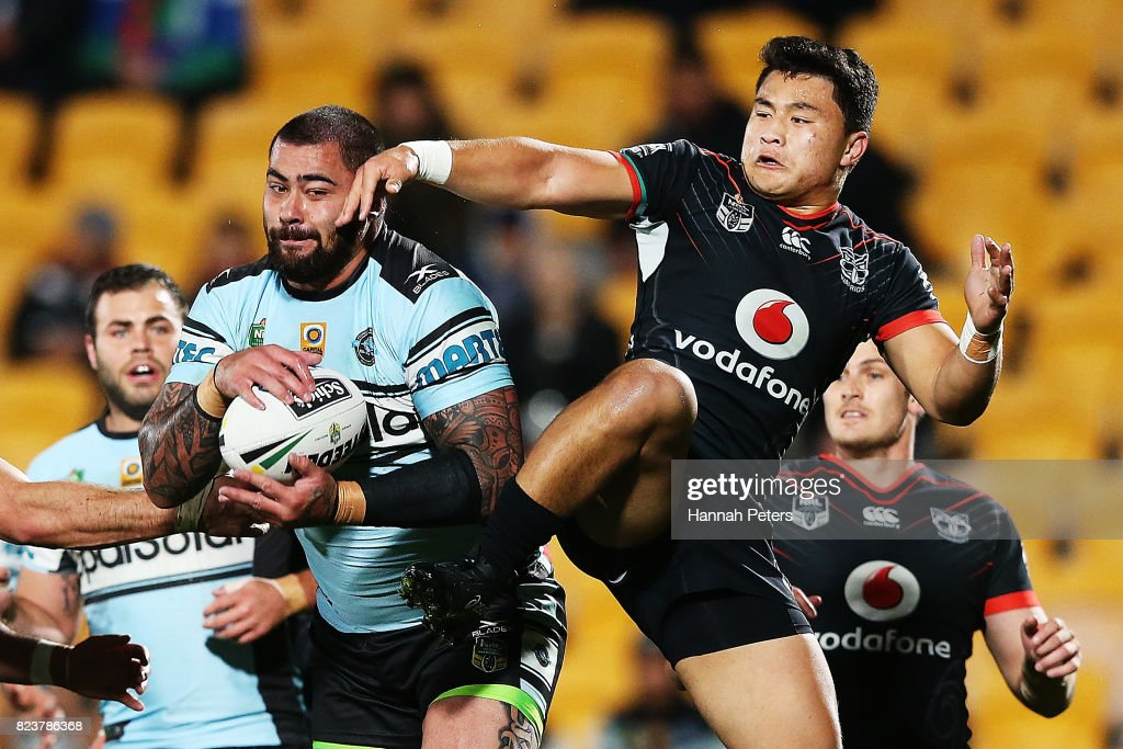 Andrew Fifita of the Sharks secures the high ball over Mason Lino of the Warriors during the round 21 NRL match between the New Zealand Warriors and the Cronulla Sharks at Mt Smart Stadium on July 28, 2017 in Auckland, New Zealand.