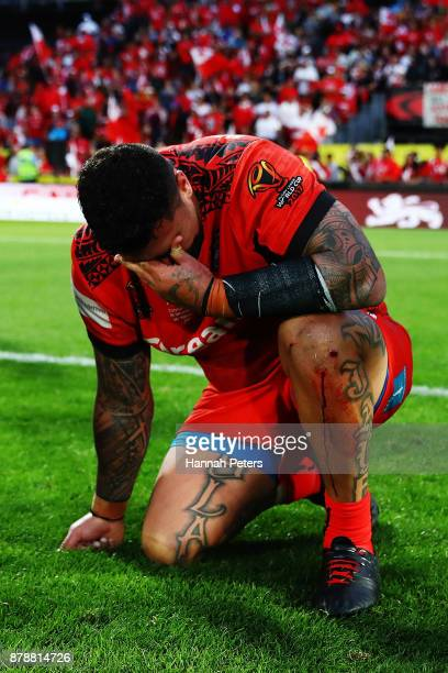 Andrew Fifita of Tonga cries on the field after losing the 2017 Rugby League World Cup Semi Final match between Tonga and England at Mt Smart Stadium...