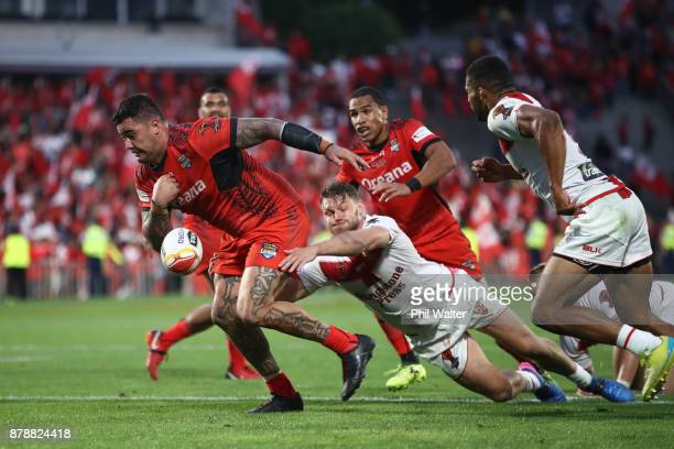 Andrew Fifita of Tonga fumbles a chance in the final seconds of the match during the 2017 Rugby League World Cup Semi Final match between Tonga and...