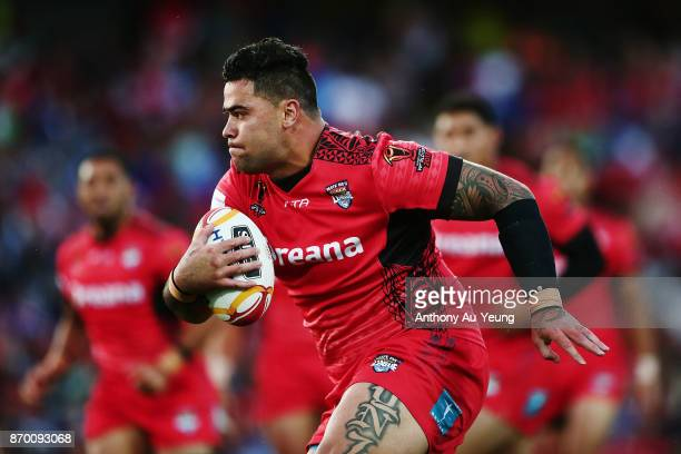 Andrew Fifita of Tonga in action during the 2017 Rugby League World Cup match between Samoa and Tonga at Waikato Stadium on November 4 2017 in...