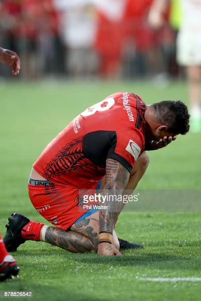 Andrew Fifita of Tonga is dejected following the 2017 Rugby League World Cup Semi Final match between Tonga and England at Mt Smart Stadium on...
