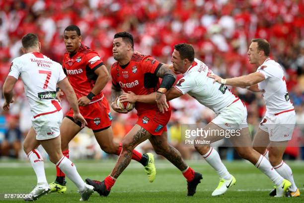 Andrew Fifita of Tonga is tackled during the 2017 Rugby League World Cup Semi Final match between Tonga and England at Mt Smart Stadium on November...