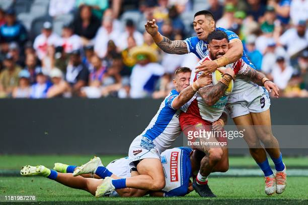 Andrew Fifita of Tonga is tackled during the round 2 Rugby League World Cup 9s match between Samoa and Tonga at Bankwest Stadium on October 19, 2019...