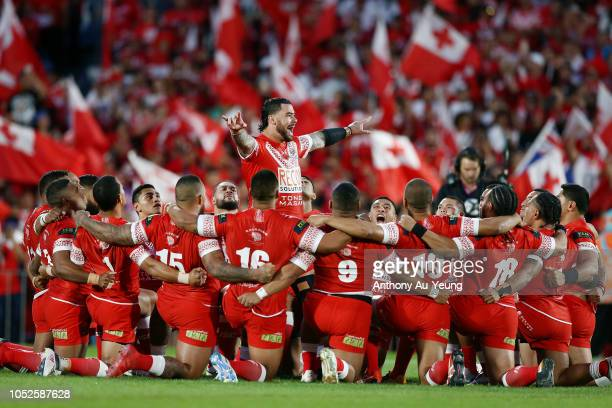 Andrew Fifita of Tonga leads the Sipi Tau during the International Test match between Tonga and Australia at Mount Smart Stadium on October 20 2018...