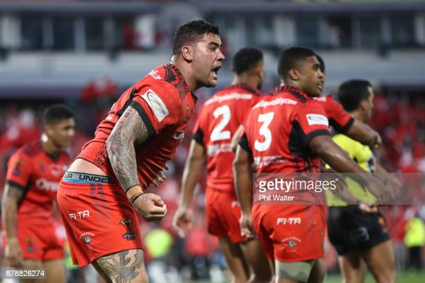 Andrew Fifita of Tonga reacts after his try attempt in the final seconds was disallowed during the 2017 Rugby League World Cup Semi Final match...