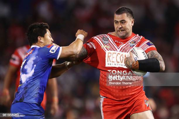Andrew Fifita of Tonga runs the ball during the 2018 Pacific Test Invitational match between Tonga and Samoa at Campbelltown Sports Stadium on June...
