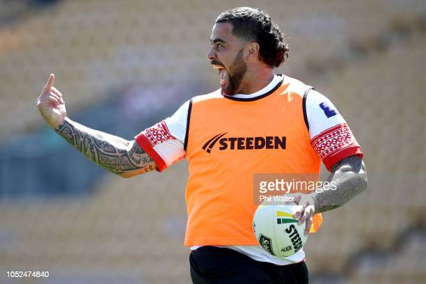 Andrew Fifita of Tonga runs with the ball during the Tonga Captain's Run at Mt Smart Stadium on October 19, 2018 in Auckland, New Zealand.