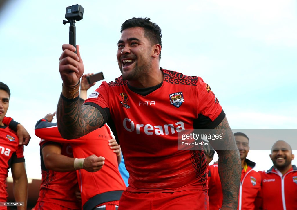 Andrew Fifita of Tonga takes a selfie during the 2017 Rugby League World Cup match between the New Zealand Kiwis and Tonga at Waikato Stadium on November 11, 2017 in Hamilton, New Zealand.