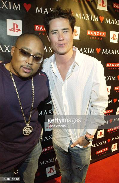 Andrew Firestone and guest during Maxim Love Party at Papaz in Hollywood California United States