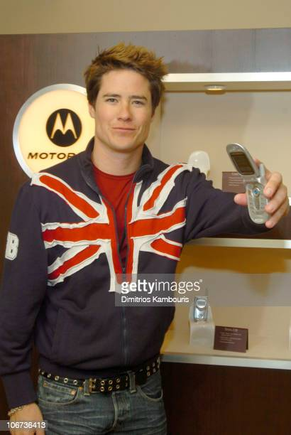 Andrew Firestone in front of Motorola display during 2004 Park City Motorola Lodge at Motorolla House in Park City Utah United States