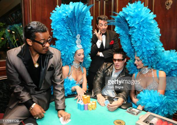 Andrew Firestone of ABC's The Bachelor with Tropicana Showroom performers David Hayes as Sammy Davis Jr and Andy DiMino as Dean Martin