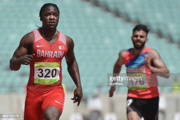 Andrew Fisher of Bahrain on his way to win Men's 100m Qualification Round Heat 4 during day five of Baku 2017 4th Islamic Solidarity Games at Baku...