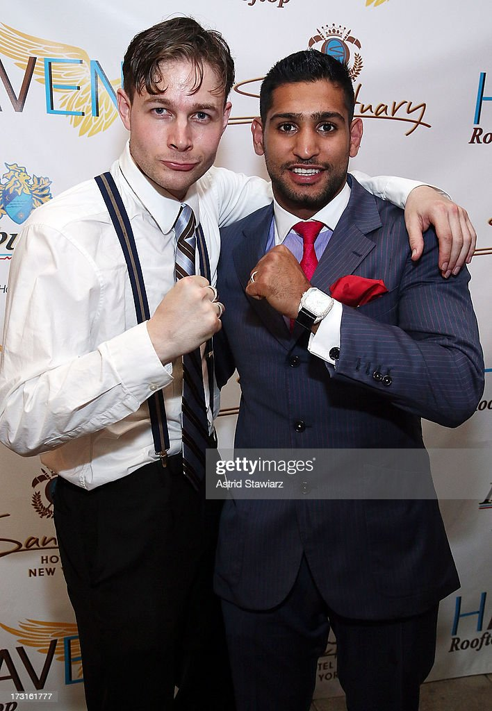 Andrew Fitzsimons and boxer Amir Khan attend Amir Khan & Faryal Makhdoom's Welcome To New York Party at Haven Rooftop at Sanctuary Hotel on July 8, 2013 in New York City.