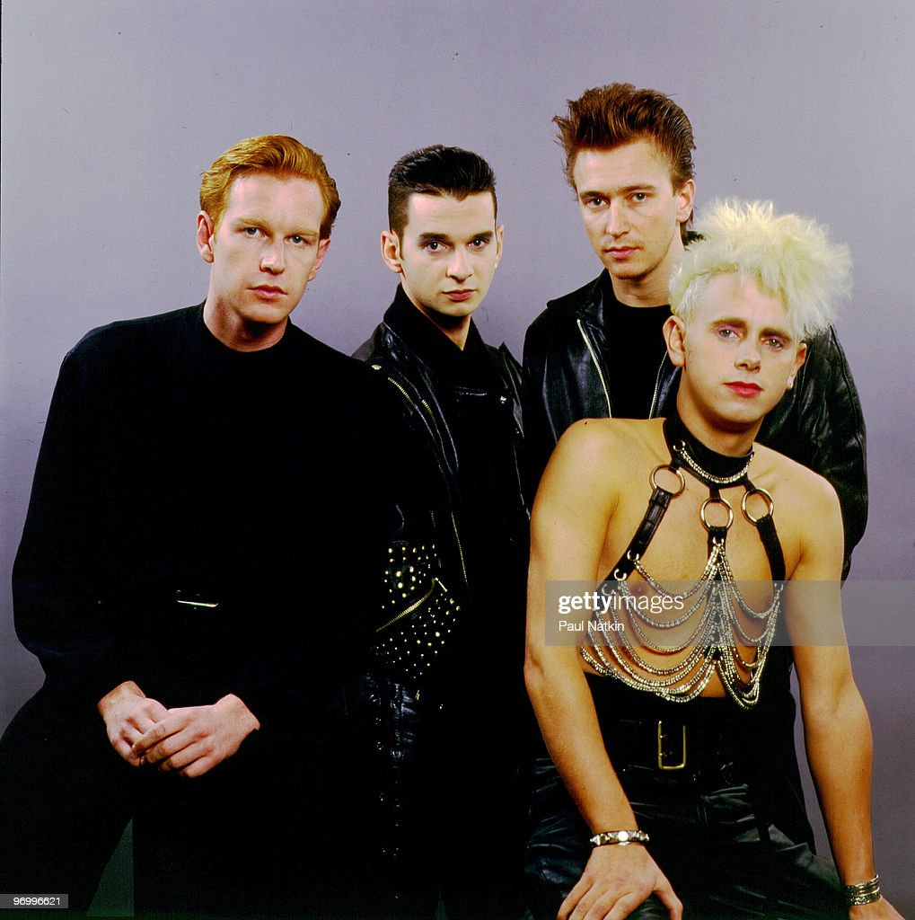 Andrew Fletcher, Dave Gahan, Alan Wilder and Martin Gore of Depeche Mode on 12/7/87 in Chicago, IL.