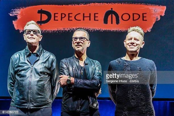 Andrew Fletcher Dave Gahan and Martin Lee Gore of Depeche Mode for a Press Event on October 11 2016 in Milan Italy
