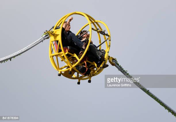 Andrew Flintoff and Marcus Trescothick in the bungee ball during the NatWest T20 Blast SemiFinal match between Hampshire and Notts Outlaws at...