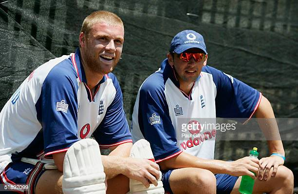 Andrew Flintoff and Steve Harmison of England share a joke during the England nets session at Kingsmead Cricket Ground ahead of the second test match...