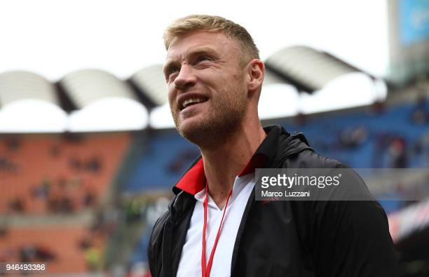 Andrew Flintoff before the serie A match between AC Milan and SSC Napoli at Stadio Giuseppe Meazza on April 15 2018 in Milan Italy