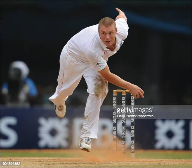 Andrew Flintoff bowling for England during the 1st Test match between India and England at MA Chidambaram Stadium Chennai India 14th December 2008...
